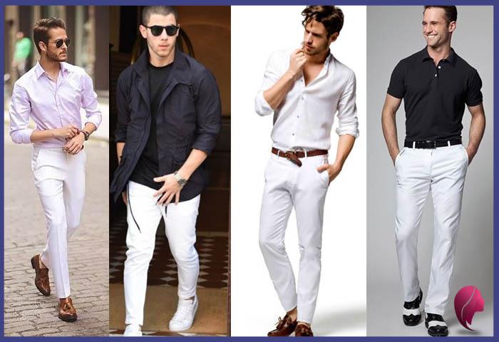 como combinar un pantalon blanco hombre