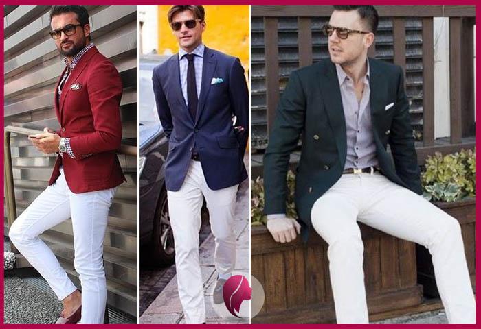 como combinar un pantalon blanco hombre y blazer