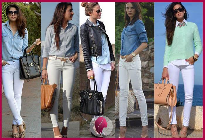 como combinar un pantalon blanco de mujer con una camisa
