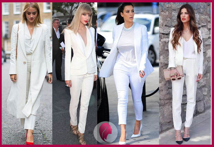 como combinar un pantalon blanco y blazer blanco