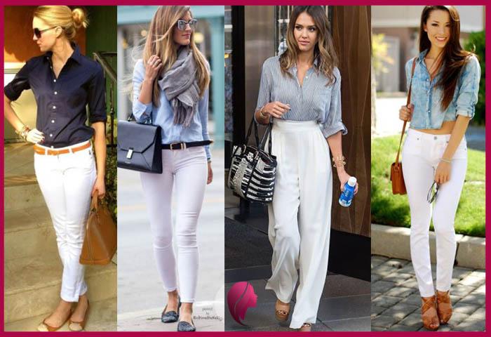 como combinar un pantalon blanco con camisa mujer