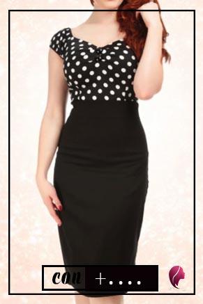 como combinar una falda negra larga con puntos o lunares blancos
