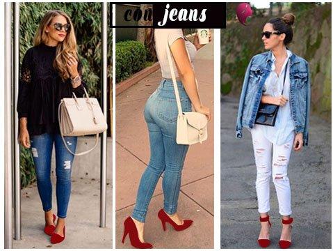 ¿Como combinar zapatos rojos? con jeans