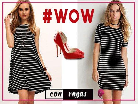 ¿cómo combinar zapatos rojos? con vestido a rayas