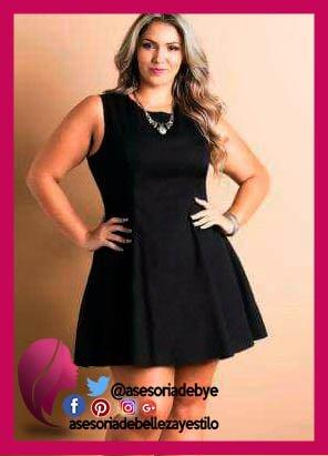 vestido negro para gorditas bajitas
