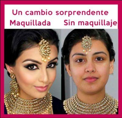 Maquillaje árabe antes y después
