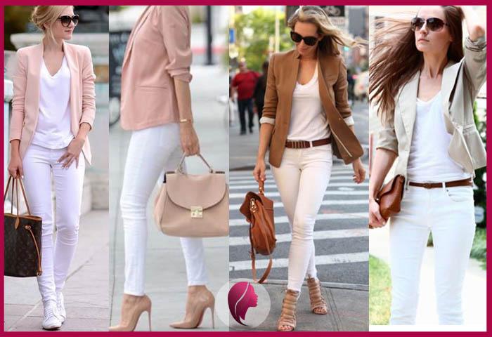 como combinar un pantalon blanco de mujer