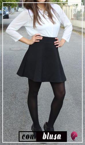 como combinar una falda negra con blanco