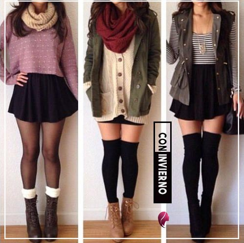 como combinar una falda negra en invierno