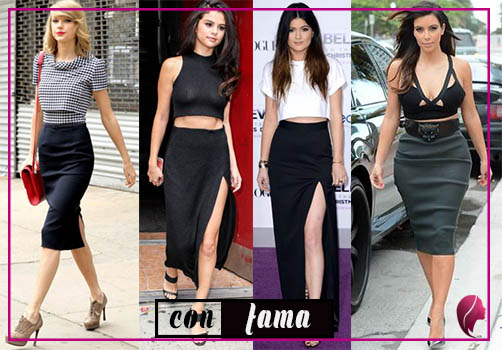 como combinar una falda negra, taylor swift, selena gomez, kylie jenner, kim kardashian combine black skirt