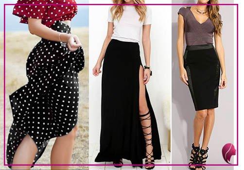como combinar una falda negra larga, de tubo ajustada y con puntitos blancos combine outfit black skirt