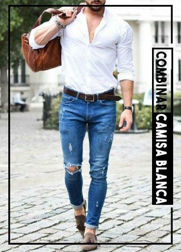 cómo combinar una camisa blanca jeans azules