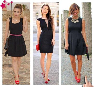 ¿Como combinar zapatos rojos? con vestido negro