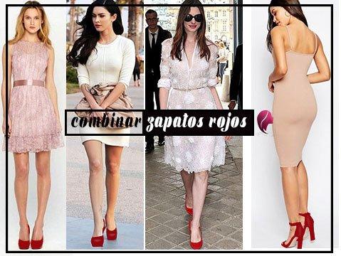 ¿cómo combinar zapatos rojos? con vestidos claros nude