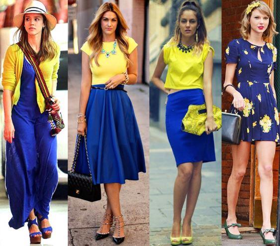 mujeres combinando una falda larga azul con amarillo