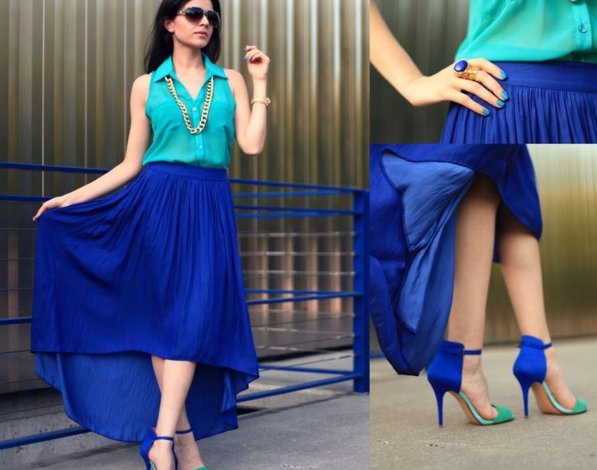 Mujer enseñando a combinar falda larga azul con blusa color aqua combine outfit long blue skirt