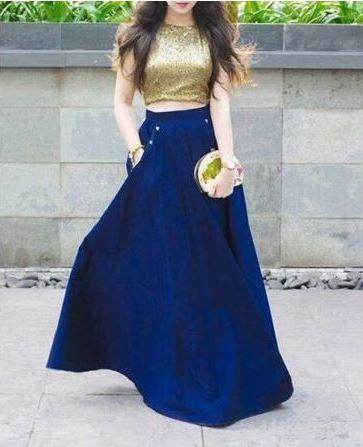 Como combinar una falda larga azul con dorado clutch dorado combine long blue skirt
