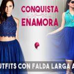 Como combinar una falda larga azul【muchos modelos y colores 】