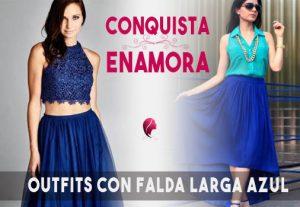 como combinar una falda larga azul en femenino