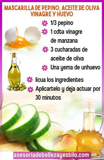 como preparar mascarilla de pepino para la cara con aceite de oliva, yema de huevo, vinagre de manzana, mascarillas faciales