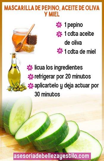 como hacer mascarilla de pepino con miel y aceite de oliva para rostro
