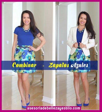 como combinar zapatos azules con top azul y falda floreada, blazer blanco