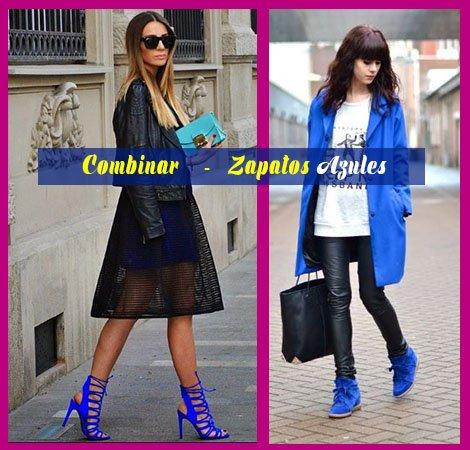 como combinar zapatos azules con falda negra transparente y sueter azul