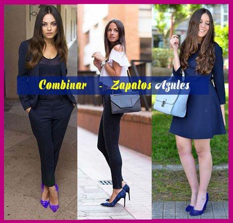 Vestido negro con zapatos azul rey