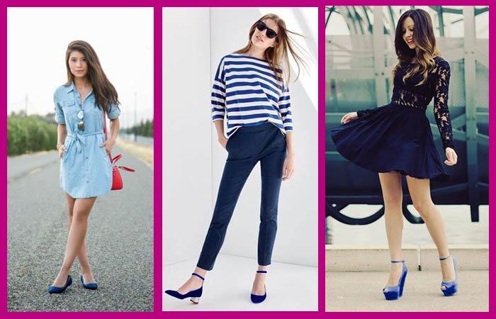 como combinar zapatos azules para lucir dulce e intrépida