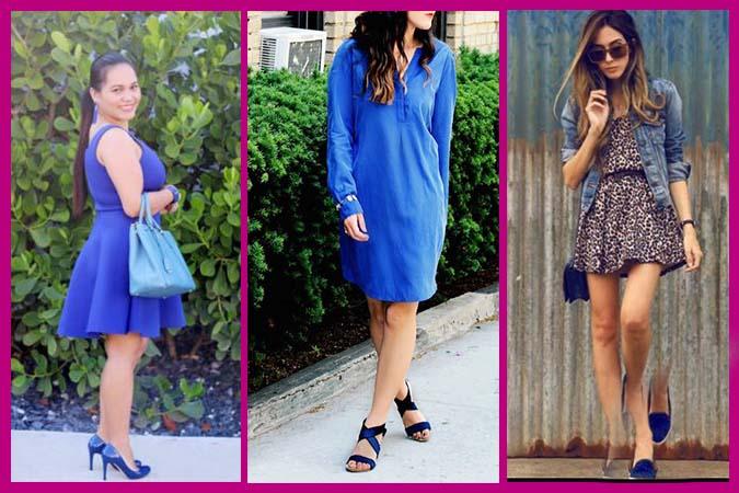 como combinar zapatos azules con vestido azul