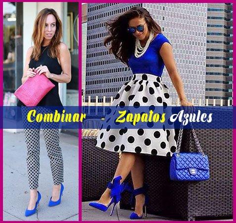 como combinar zapatos azules con puntos y top negro mujer