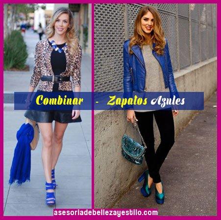 como combinar zapatos azules de mujer con chaqueta azul y animal print y prenda inferior negra
