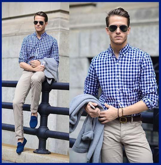como combinar zapatos azules de hombre con pantalon hueso y camisa a cuadros