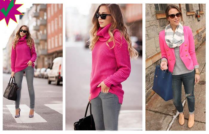 como combinar un pantalon gris con rosa mujer outfits gris y rosa