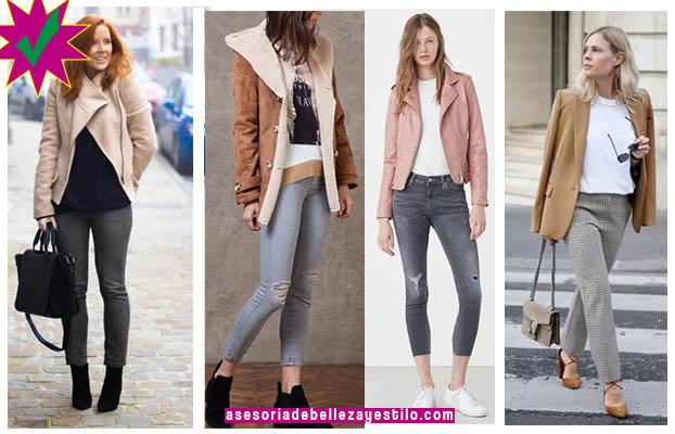 como combinar un pantalón gris mujer con color camel outfit pantalon gris