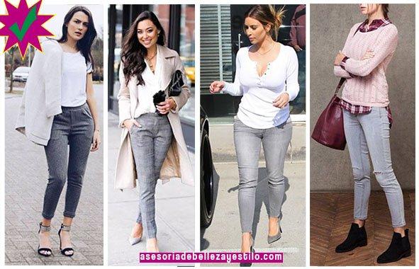 como combinar un pantalón gris con colores claros