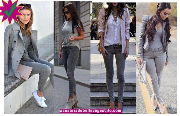 como combinar un pantalón gris con top, chaqueta gris.