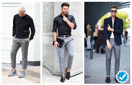 como combinar un pantalón gris de hombre con camisa negra