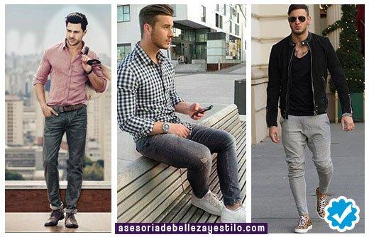 outfit como combinar un pantalón gris con camisa