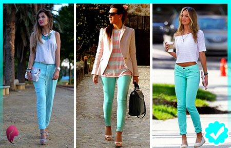 como combinar un pantalón turquesa con un outfit casual