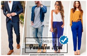 Como combinar un pantalón azul de mujer y hombre