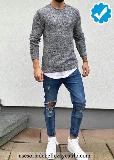 Como combinar un pantalón azul de hombre con gris