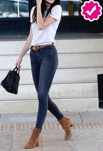 Como combinar un pantalón gris de mujer con top blanco