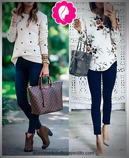Como combinar un pantalón azul marino de mujer con blusa blanca de estampados