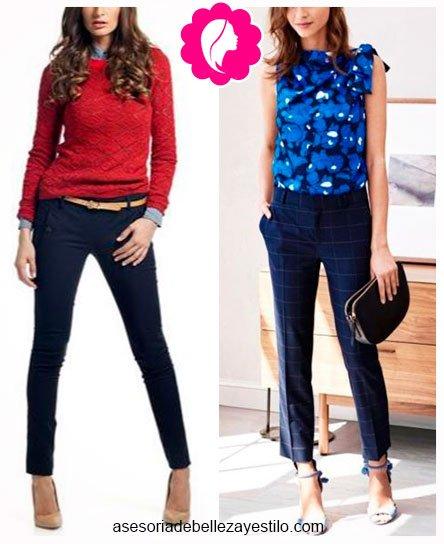 Como combinar un pantalón azul marino de mujer con azul y rojo