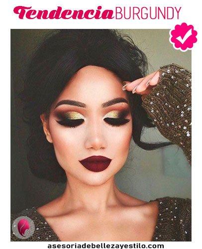 maquillaje para una fiesta de noche tendencia burgundy