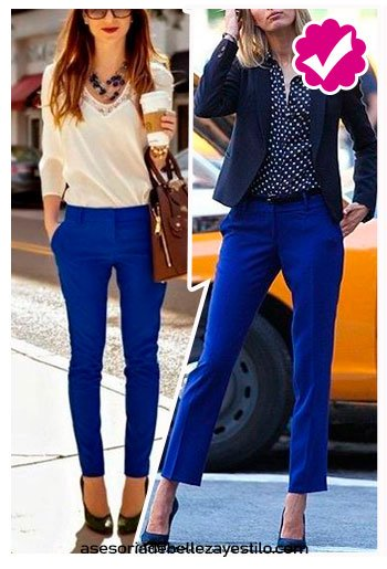 combinar pantalón azul rey con blusa de puntos blancos mujer